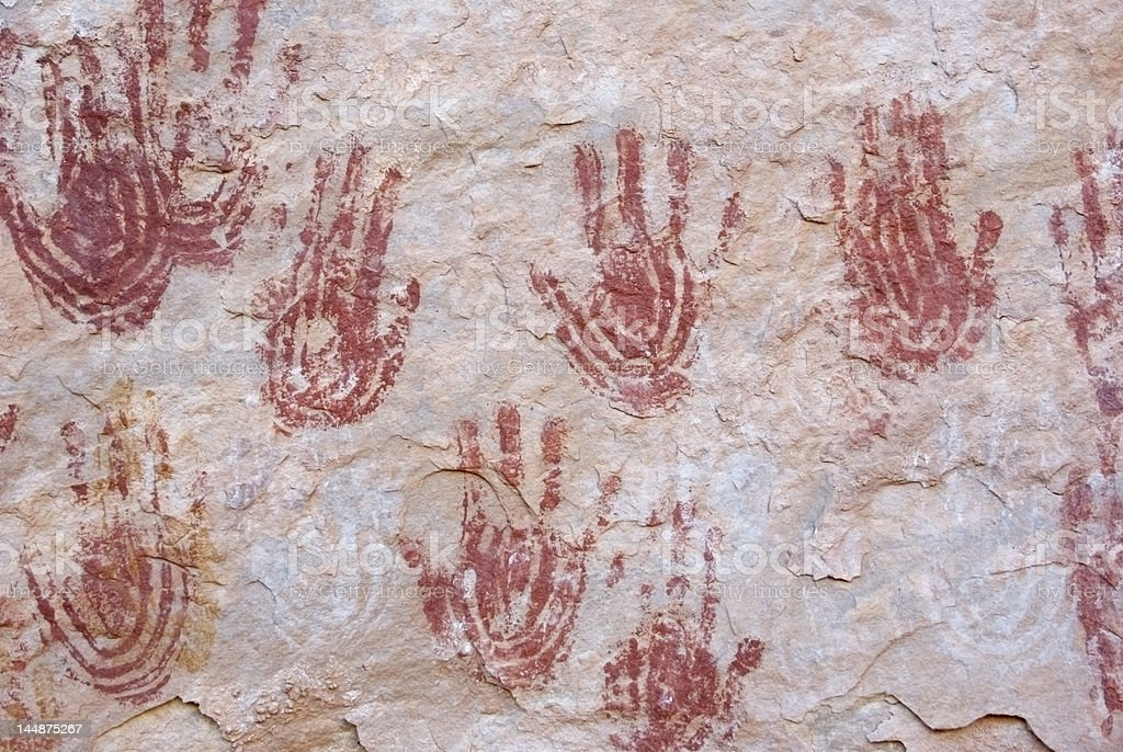 Red Anasazi Handprints stock photo