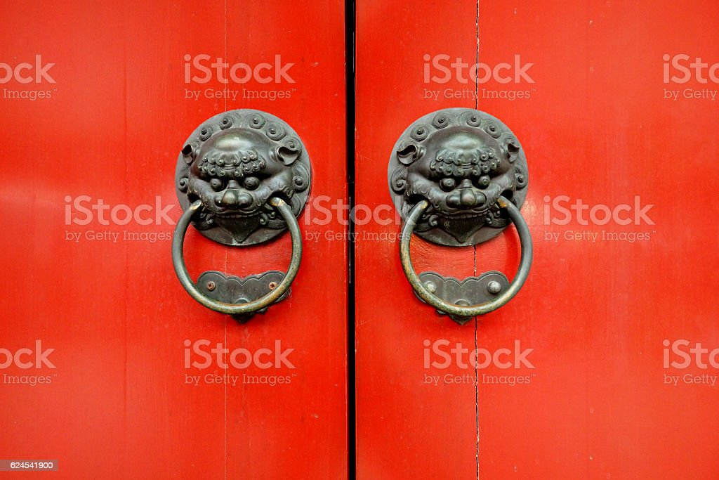 Red Ancient Chinese door stock photo