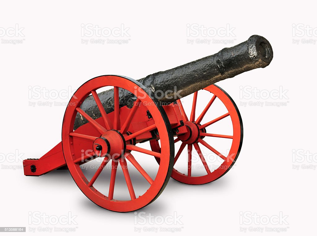 Red and black cannon stock photo