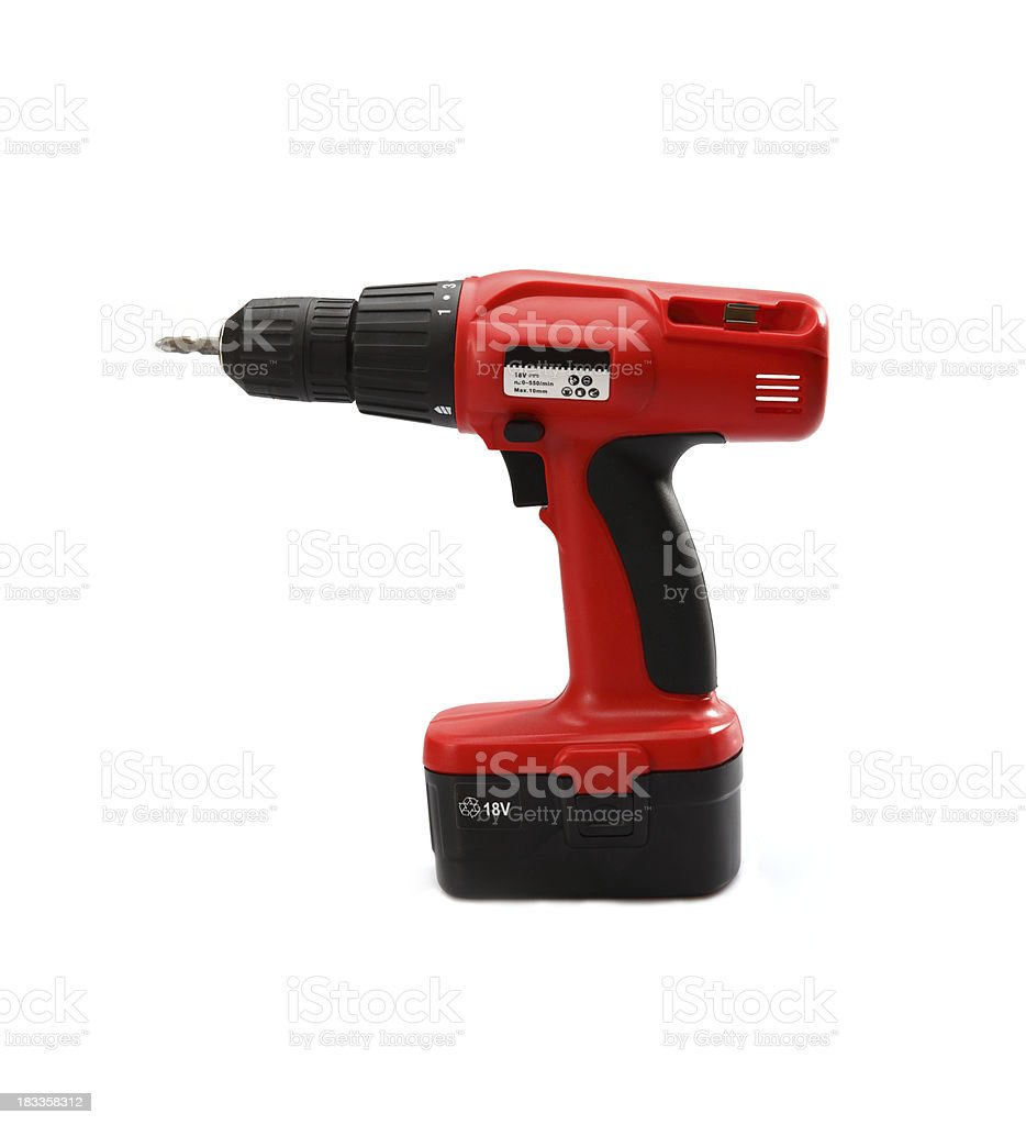 Red and Black Drill Bit Power Tool royalty-free stock photo