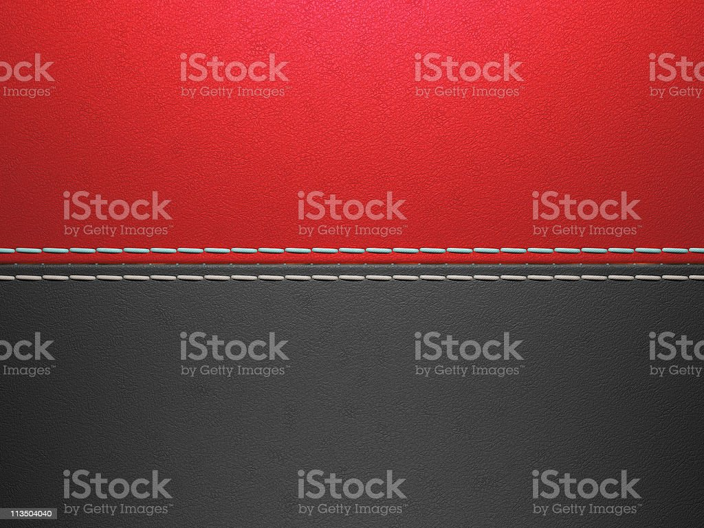 Red and black horizontal stitched leather background stock photo