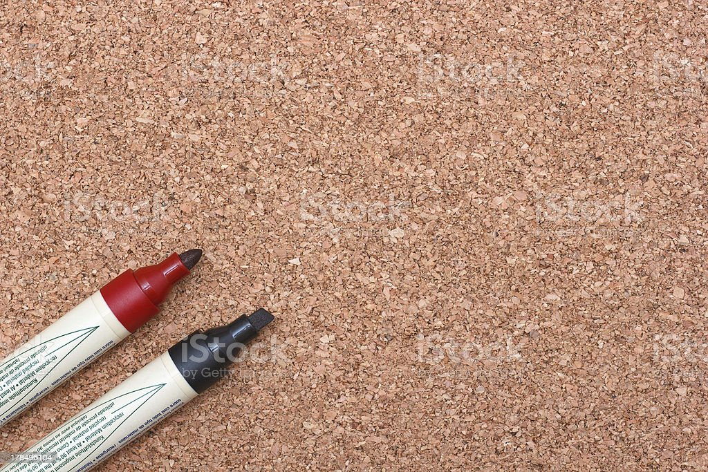 red and black markers on cork royalty-free stock photo