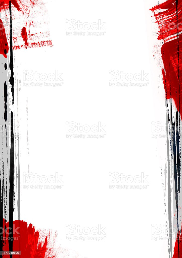 Red and black paint borders of a white background royalty-free stock photo