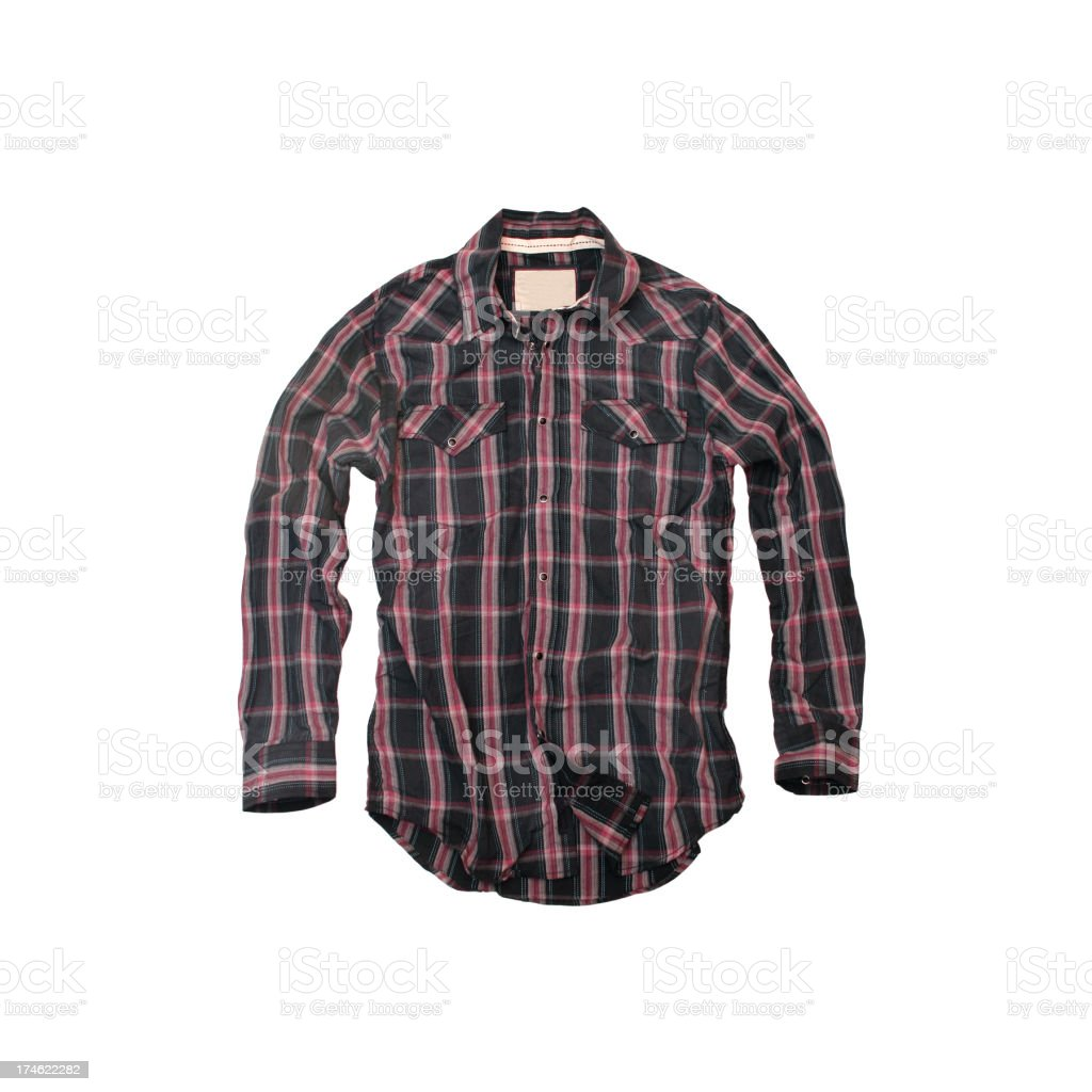 Red and Black Plaid Cowboy-Shirt on a White Background stock photo