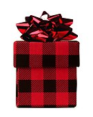 Red and black plaid patterned Christmas gift box isolated
