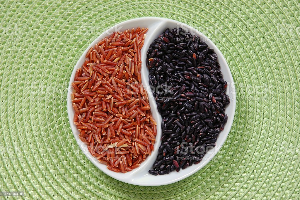 Red and Black Rice Yin Yang royalty-free stock photo