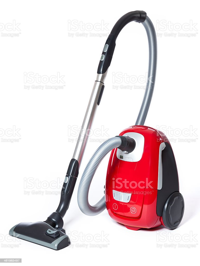 Red and black small vacuum cleaner stock photo