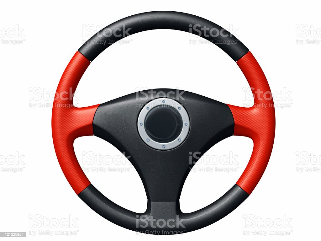 Red and black sport steering wheel stock photo