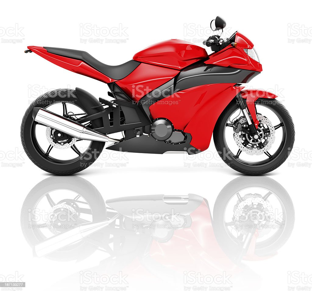 Red and black sports motorcycle royalty-free stock photo