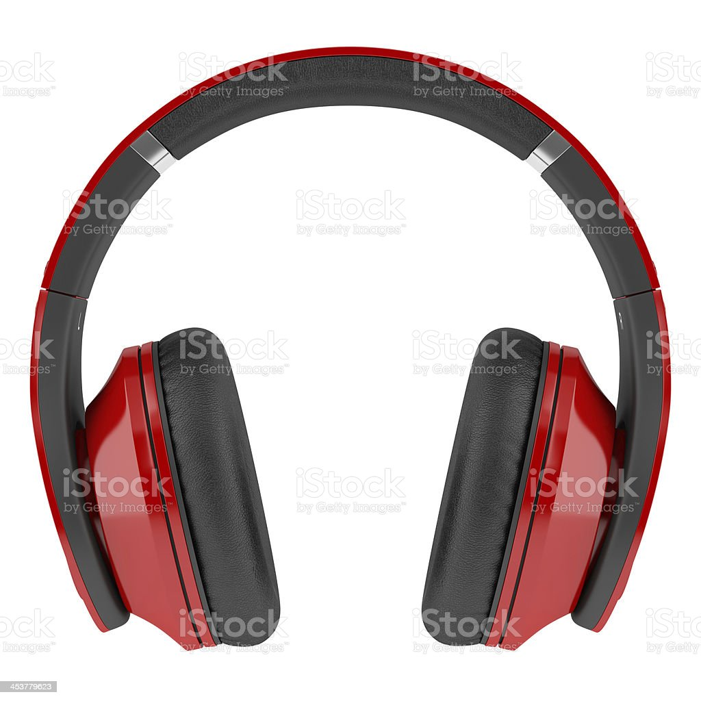 red and black wireless headphones isolated on white background stock photo