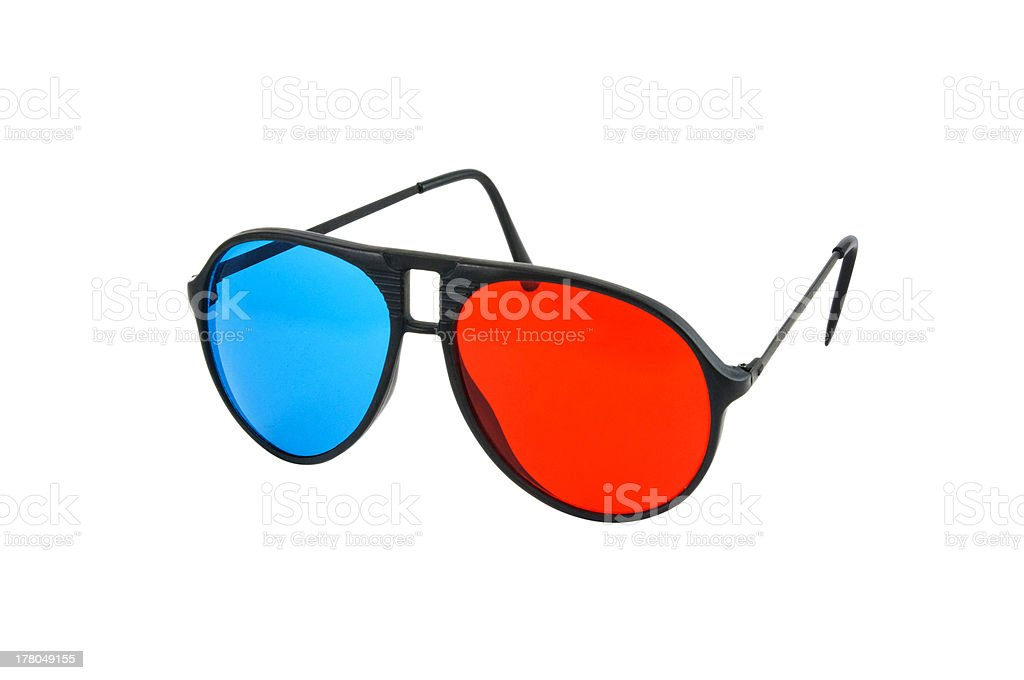 Red and Blue 3D glasses isolated royalty-free stock photo