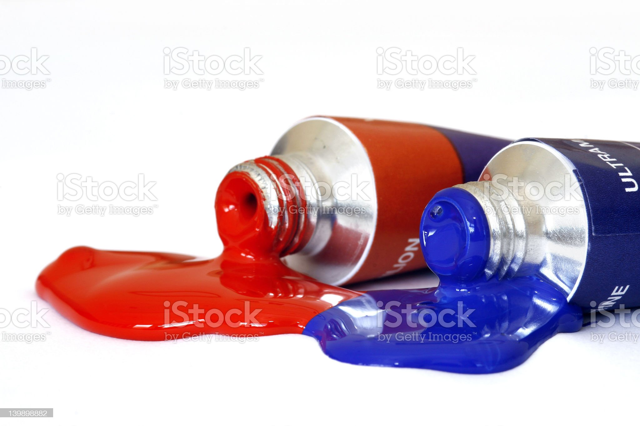 Red and Blue Acrylic Paint royalty-free stock photo