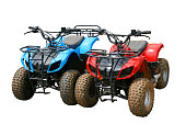 Red and blue ATV quad bike in Thailand (isolated)