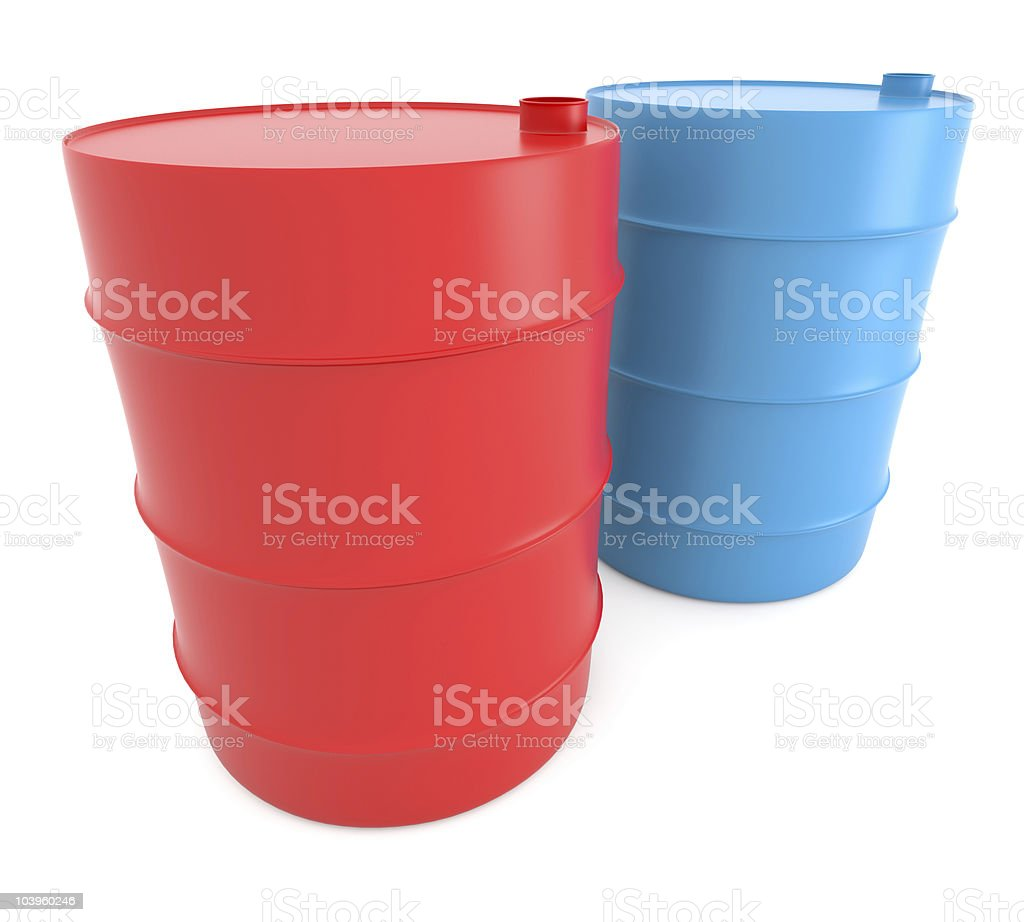 Red and blue barels royalty-free stock photo