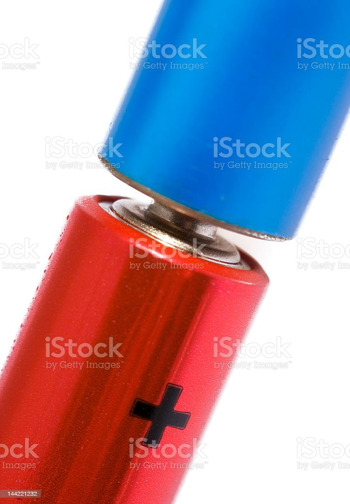 Red and blue batteries close-up stock photo