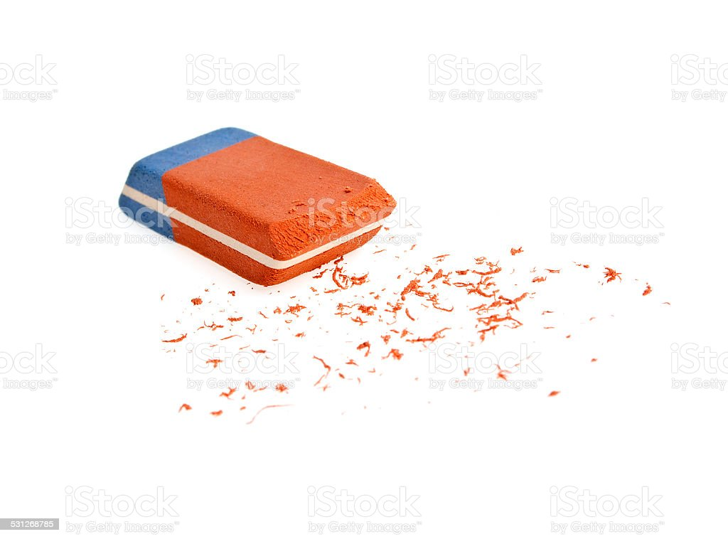 Red and blue eraser on a white background stock photo