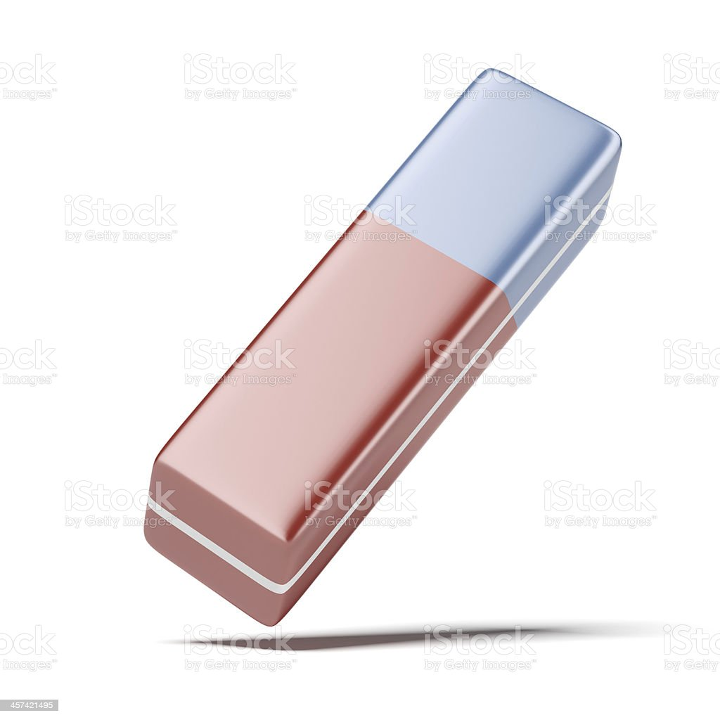 Red and blue eraser stock photo