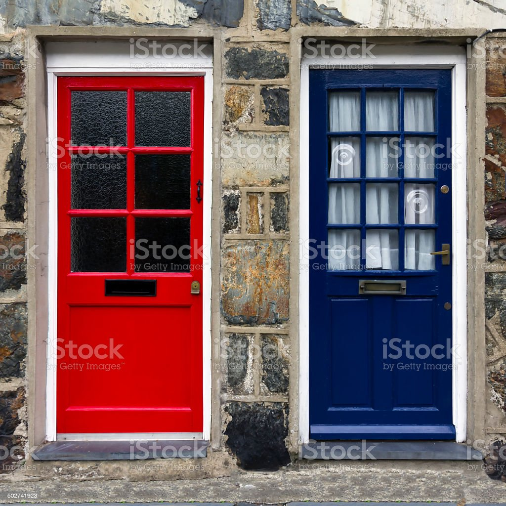 Red and Blue Front Doors stock photo