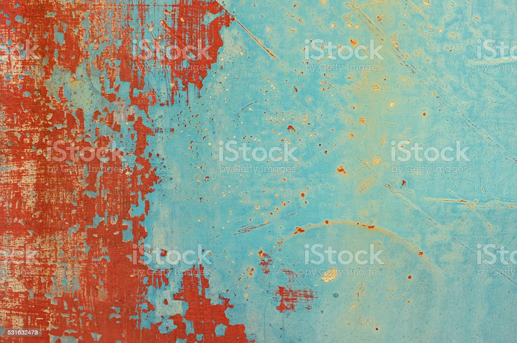 Red and blue grunge metal plate stock photo