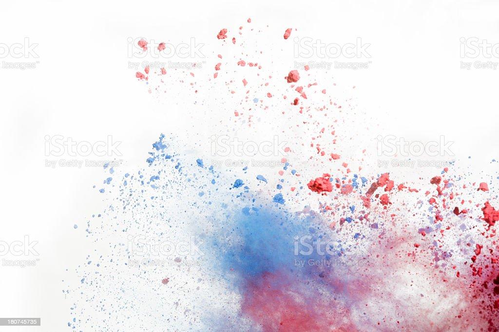 Red and Blue Holi Powder on white background stock photo