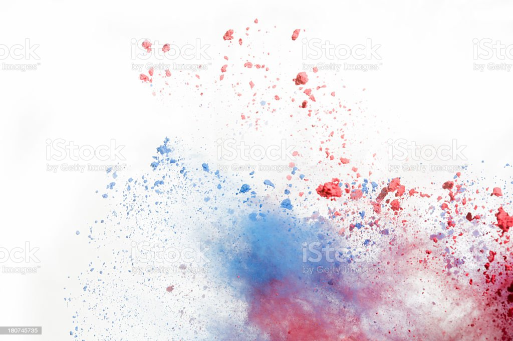 Red and Blue Holi Powder on white background stock photo