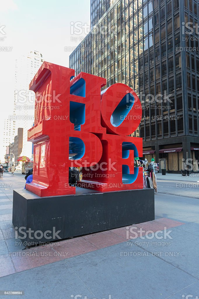 "Red and blue ""Hope"" sculpture by Robert Indiana stock photo"