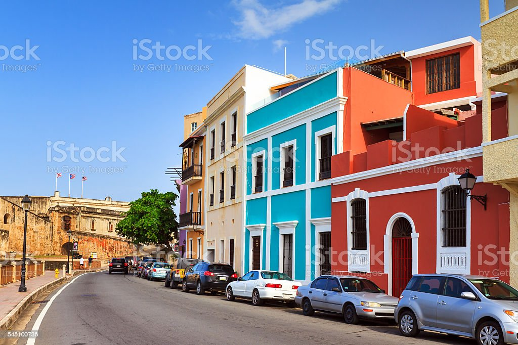 Red and blue house San Juan stock photo