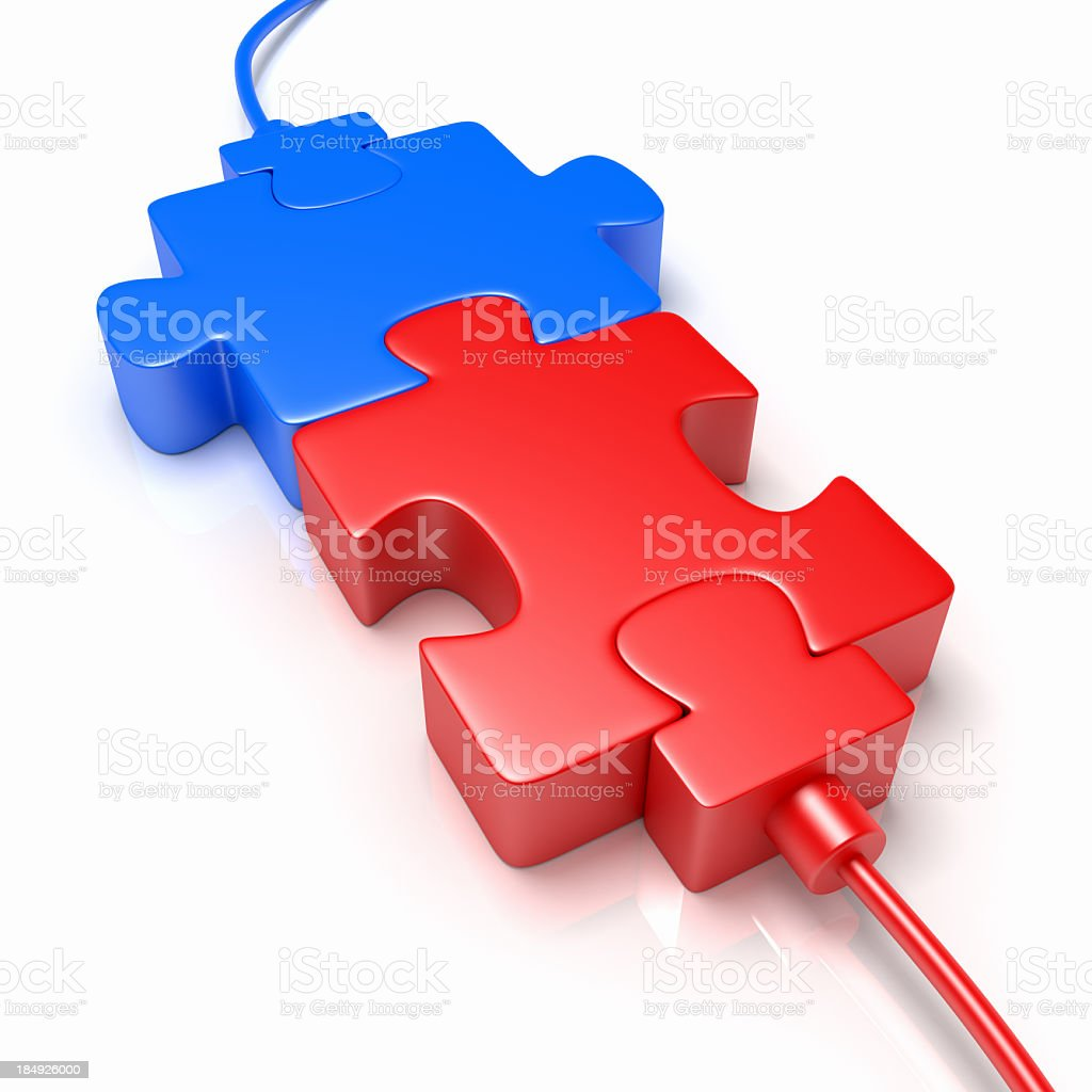 Red and blue jigsaw puzzle pieces royalty-free stock photo
