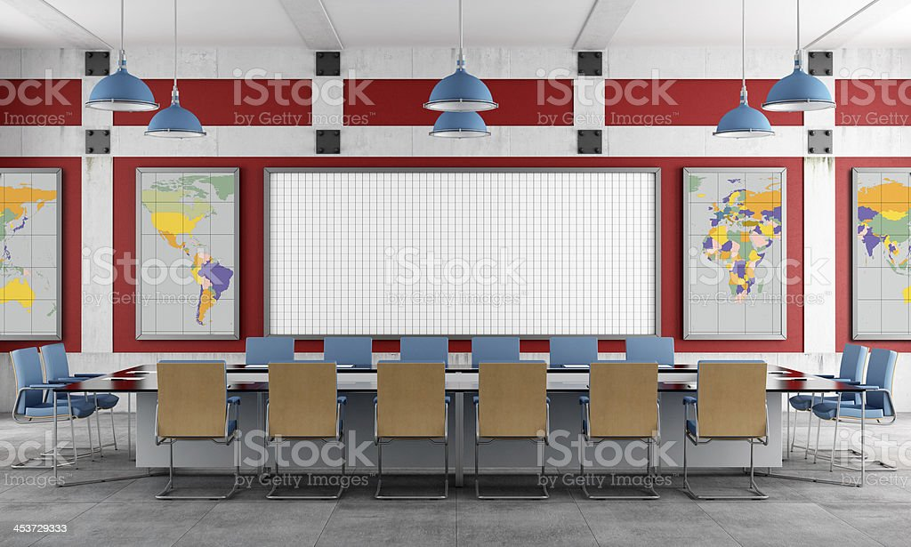 Red and blue Meeting room royalty-free stock photo
