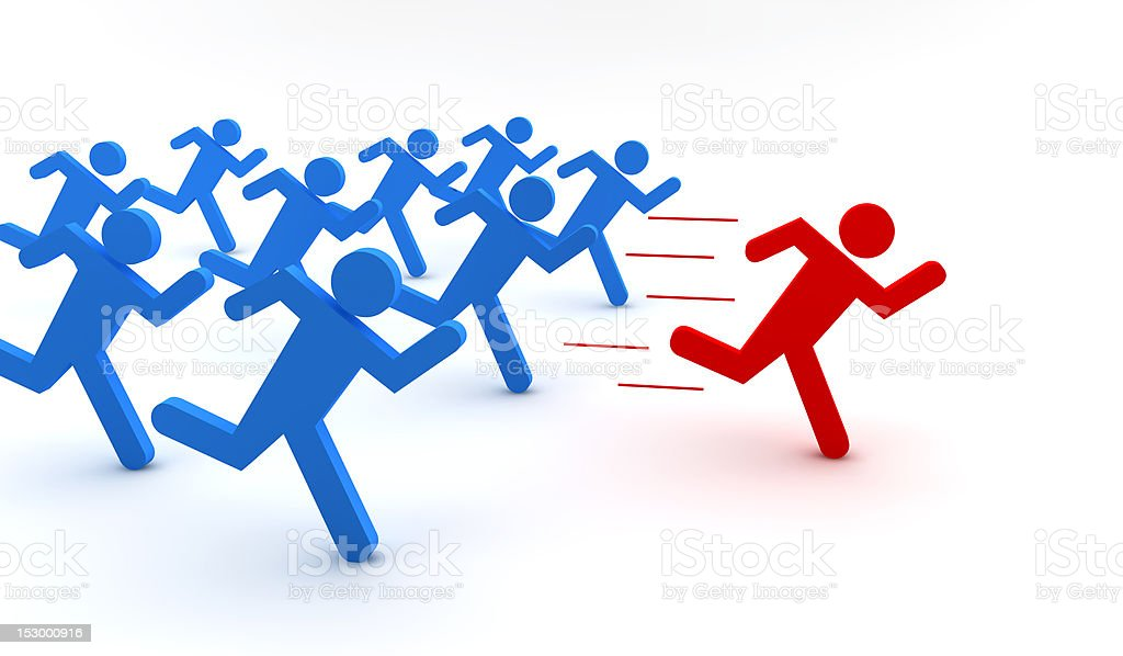 Red and blue men running royalty-free stock photo
