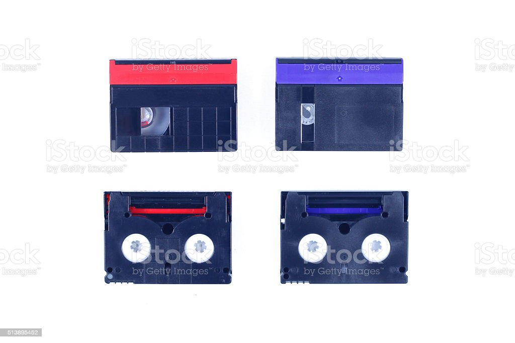 red and blue mini DV cassette stock photo
