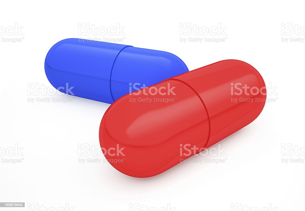 Red and blue pills royalty-free stock photo