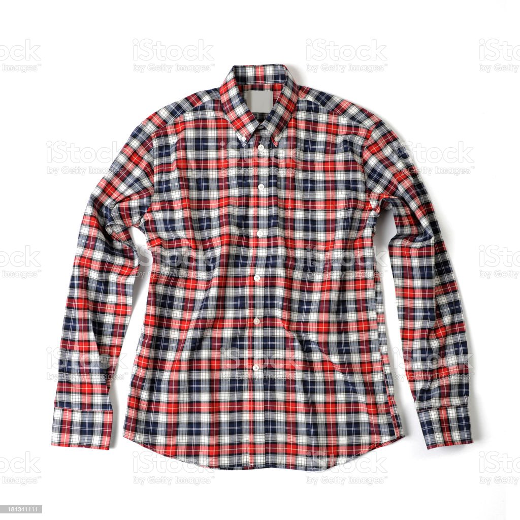 Red and blue plaid shirt stock photo