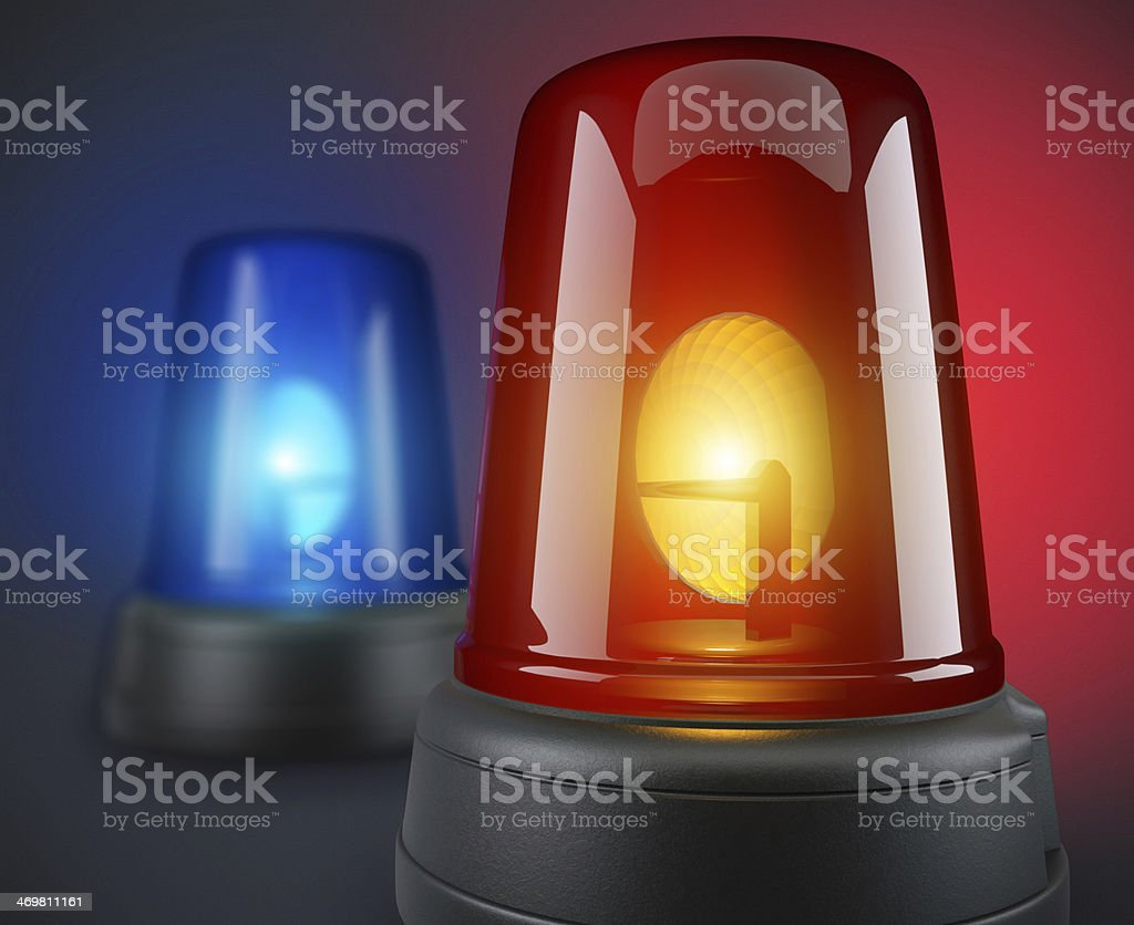 Red and blue police lights stock photo