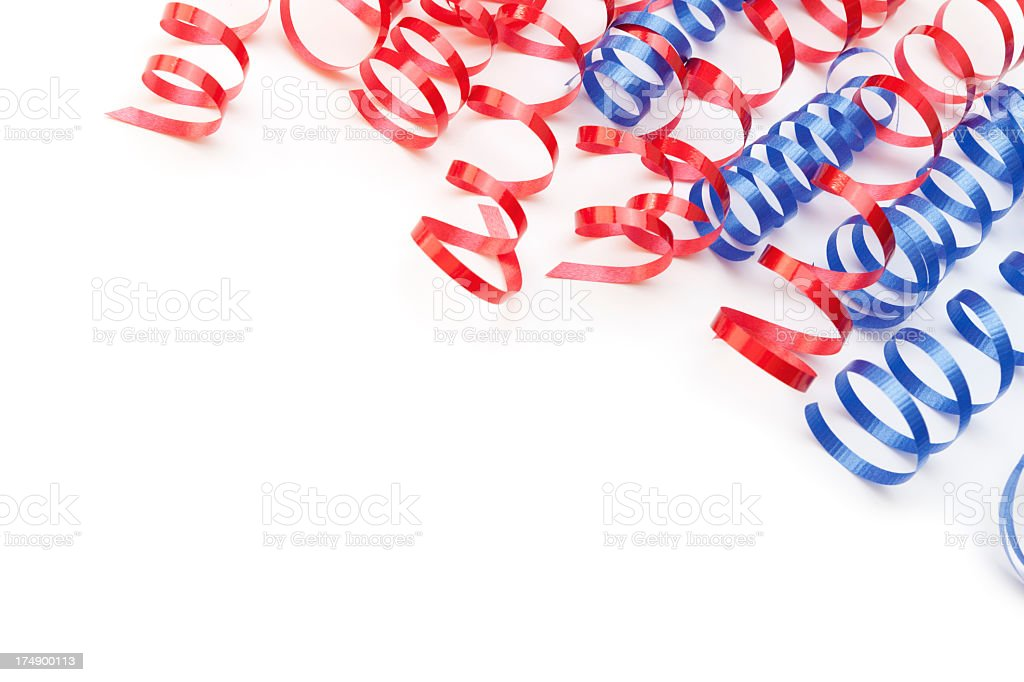 Red and blue ribbon corner border royalty-free stock photo