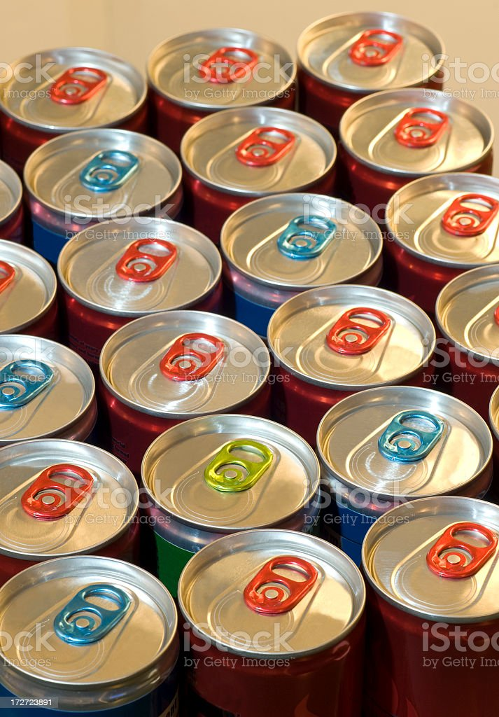 Red and blue rows of energy drinks royalty-free stock photo