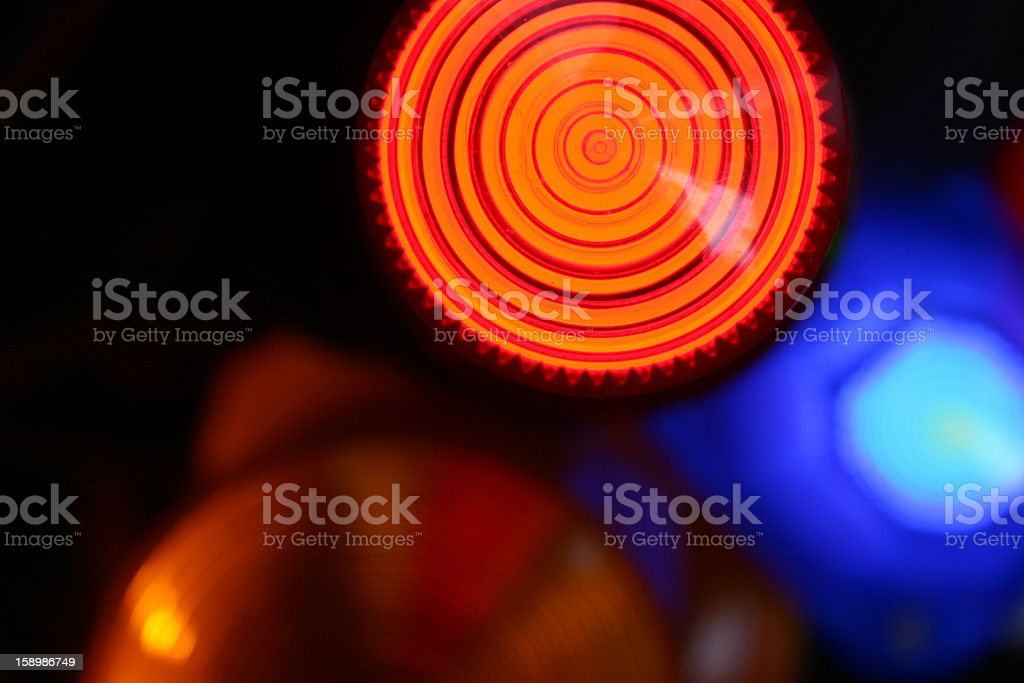 red and blue signal light siren, close up stock photo