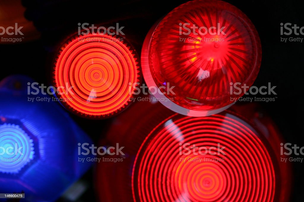 Red and Blue signal light siren stock photo