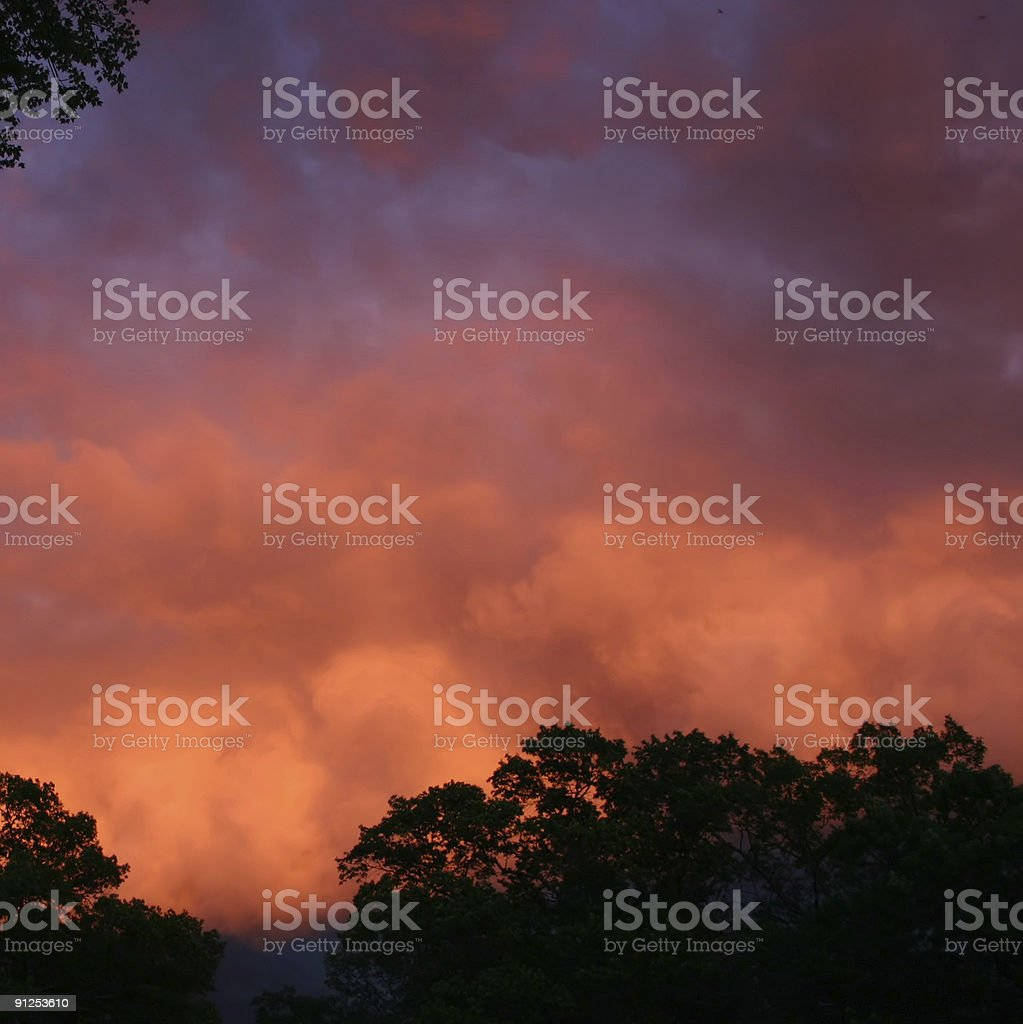 Red and blue Storm clouds at twilight royalty-free stock photo