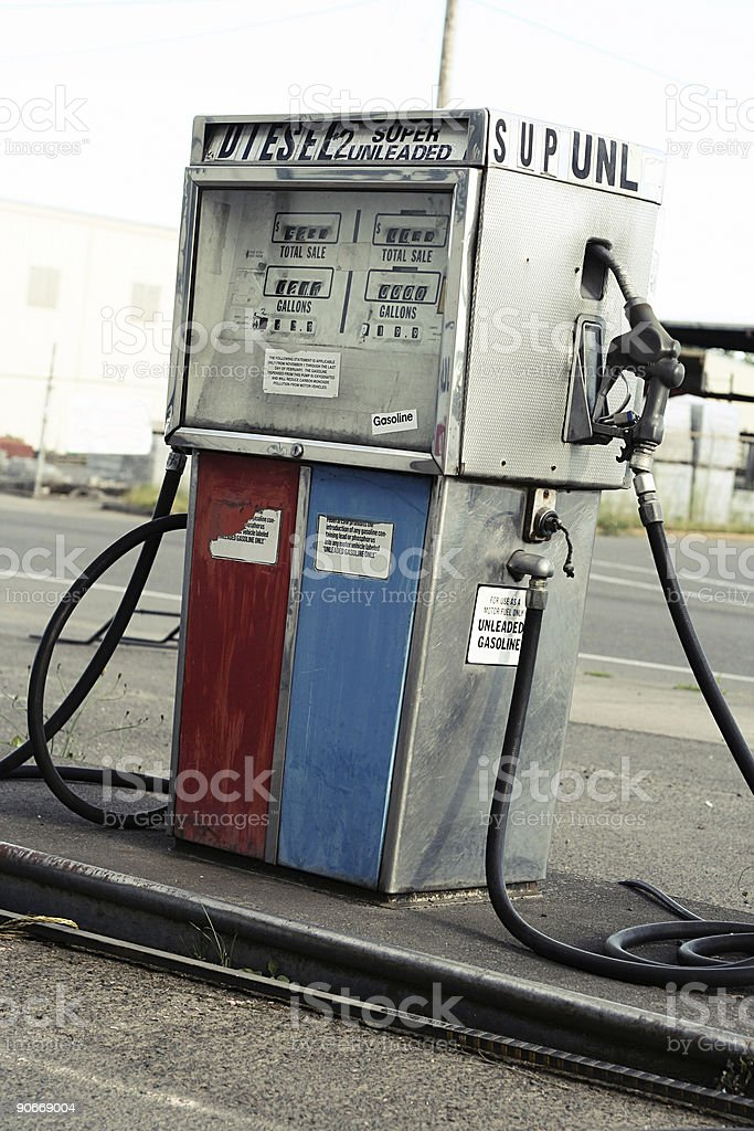 Red and Blue Vintage Gas Pump royalty-free stock photo