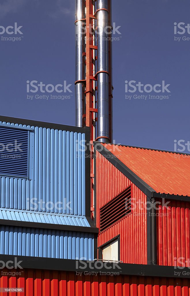 Red and blue with chimney royalty-free stock photo