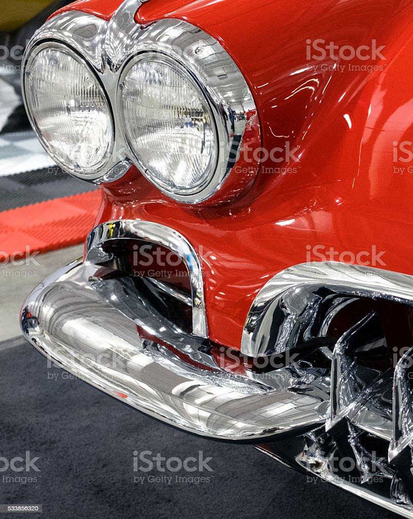 Red and Chrome Closeup of Classic Sports Car stock photo