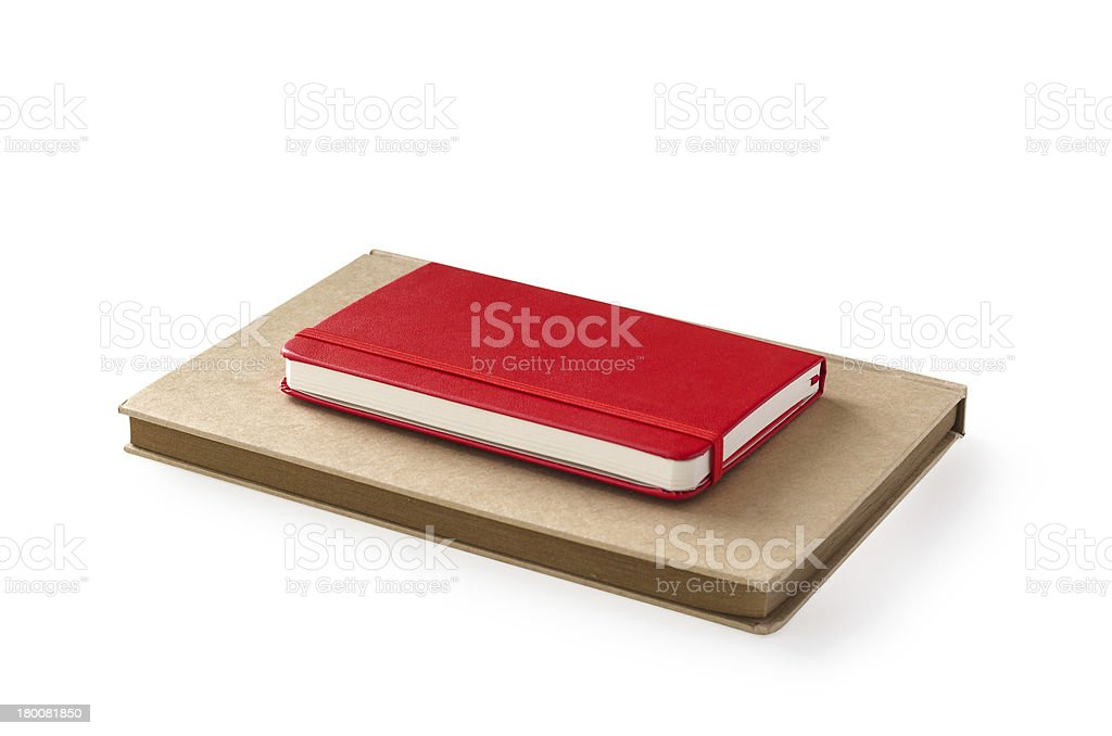 red and craft diaries isolated royalty-free stock photo