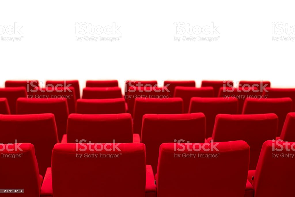 Red and empty theater seats isolated stock photo