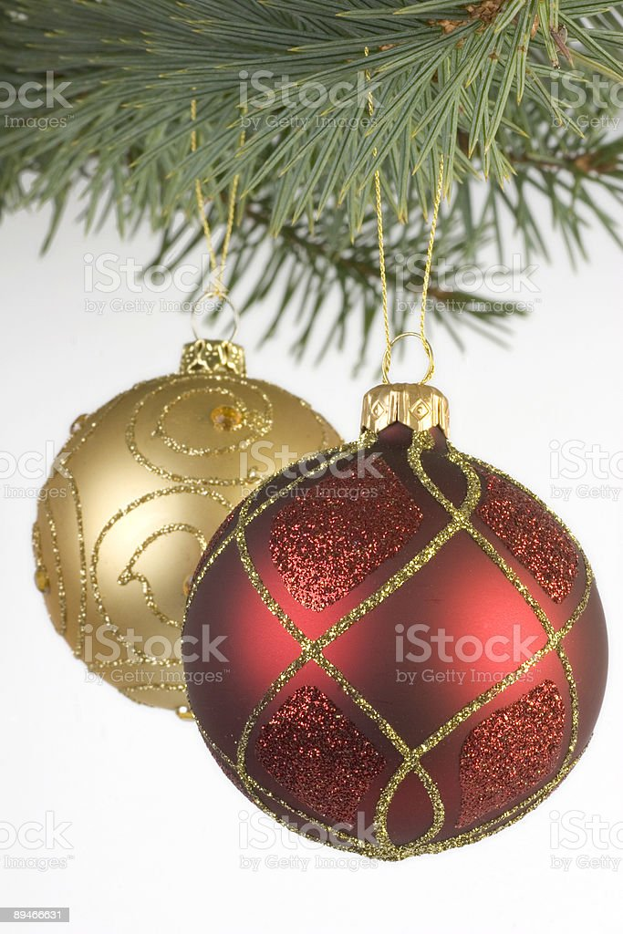 Red and Gold christmas baubles royalty-free stock photo