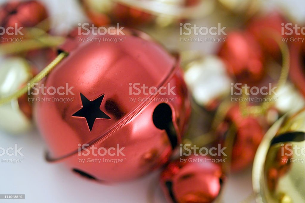 Red and gold christmas bells stock photo