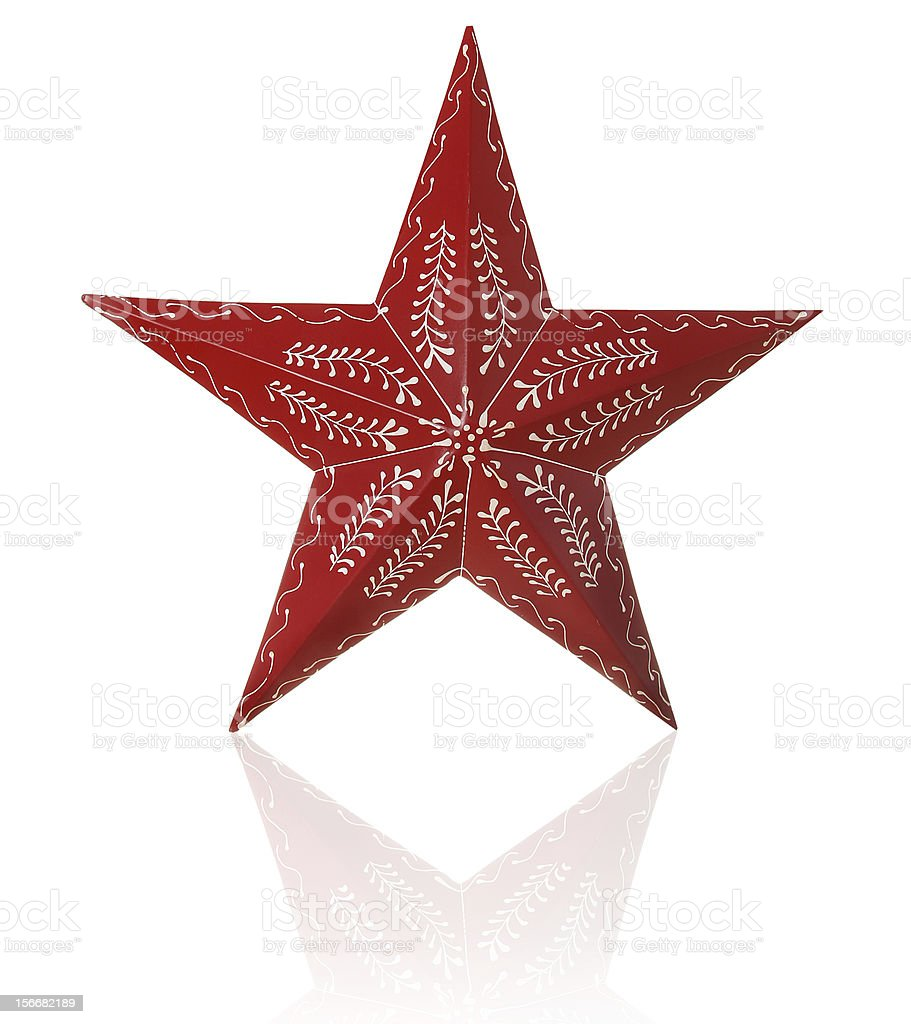 Red and Gold Christmas star on a whit background stock photo