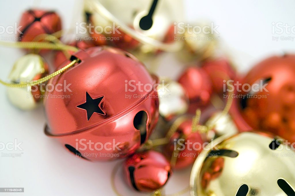 Red and gold jingle bell christmas tree decorations stock photo