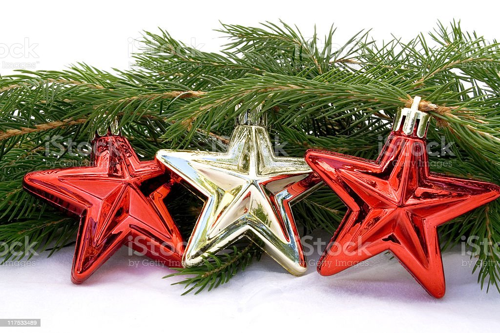 Red and gold stars stock photo