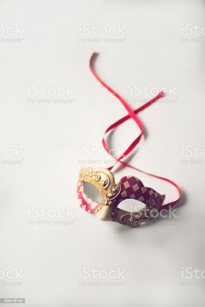 Red and Gold Venetian Carnival Mardi Gras Mask stock photo